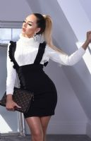 Megan McKenna Celebrity Inspired Pinafore Frill Dress